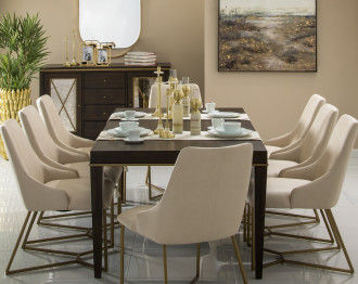 NATHAN DINING TABLE SET 8 CHAIRS (EXTENDABLE TABLE)