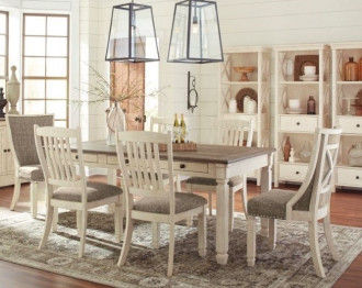 Bolanburg Dining Table 4 Chairs +2 Chairs Back Upholstred