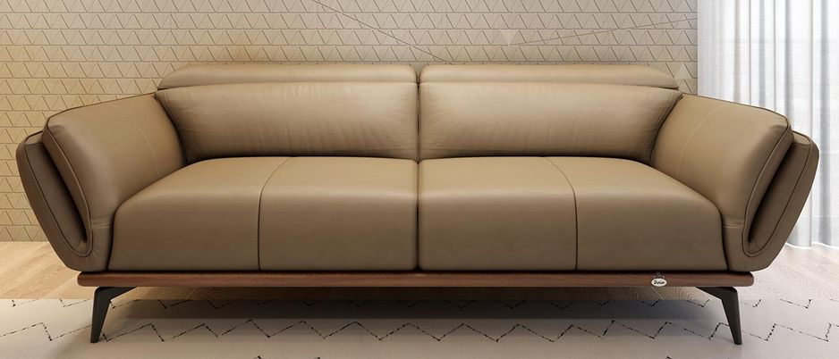 Campbell 3 Seater Leather Sofa in brown/ Dark Khaki colour