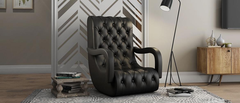 Side profile of Bid Black Premium Leatherette Compact Rocking Chair