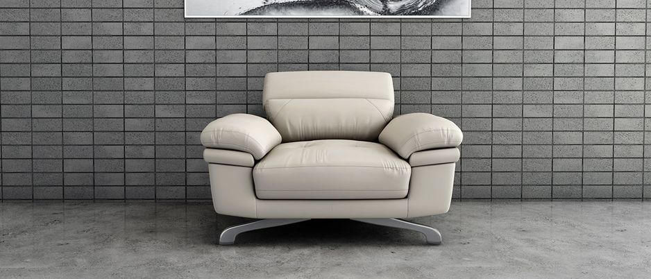 Back Profile Philly Beige Leather 1 seater Sofa With Adjustable Headrest