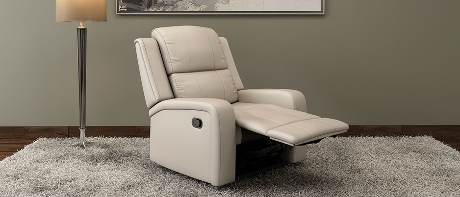 Front view of  Nappa Aire 1 seater Jameson leather  sofa+recliner in Grey - Smoke Grey in room