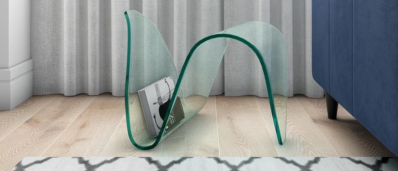 Nico Tempered Glass Magazine Holder enhances the beauty of living room