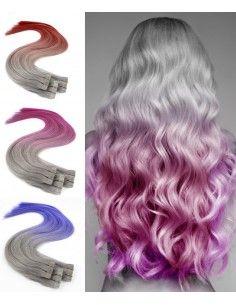 Klebe Echthaarverlängerungen - Silber Tie und Dye Flashy Farben