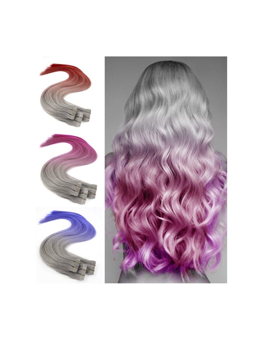 Extensions De Cheveux Gris Silver Adhesives Ombre Hair Crazy Color