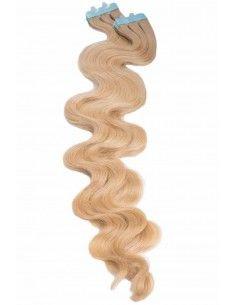 Extensions adhésives ondulées blond caramel