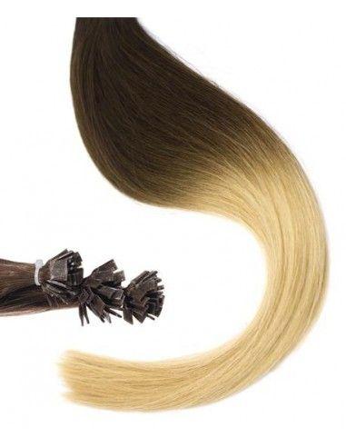 25 Extensions à Chaud Ombré Hair , 4 Marron Glacé, Châtain , 50 cm