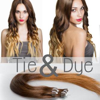 extensions de cheveux adhésives tie and dye