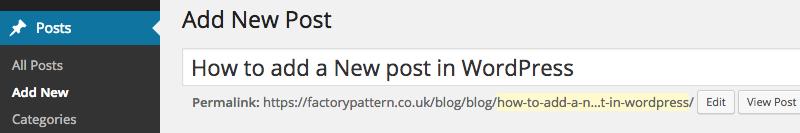 WordPress Posts tab