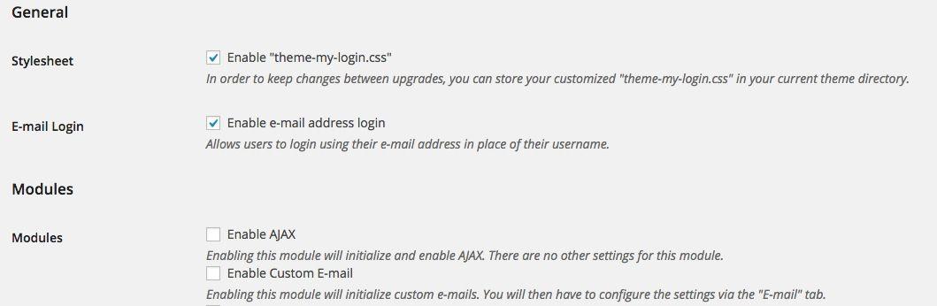 Theme my login settings
