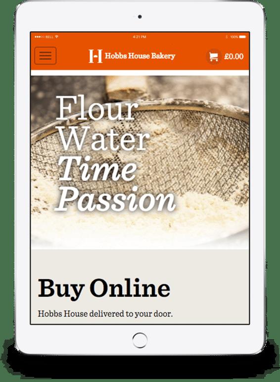 Hobbs House Bakery Website iPad