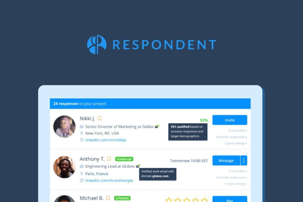 Respondent - recruiting users