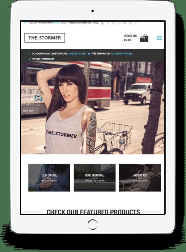 Shopify Ecommerce website tablet