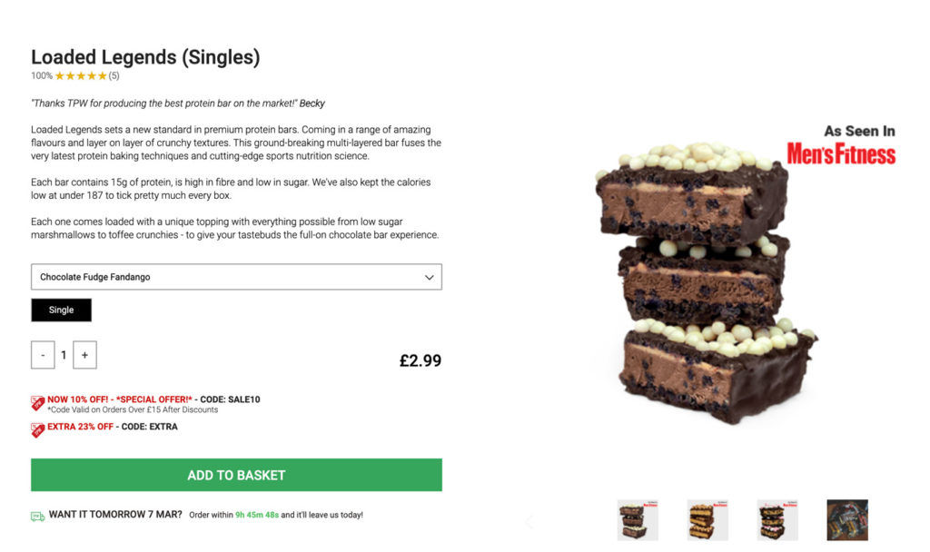 Protein Bar ecommerce page