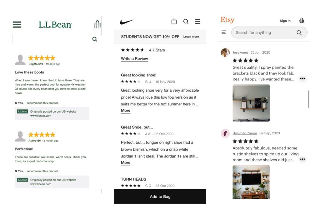 Reviews on mobile ecommerce sites