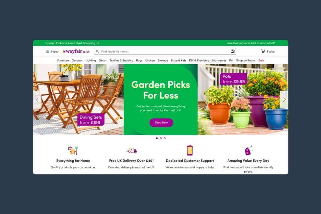Wayfair website showing a SALE category in their navigation