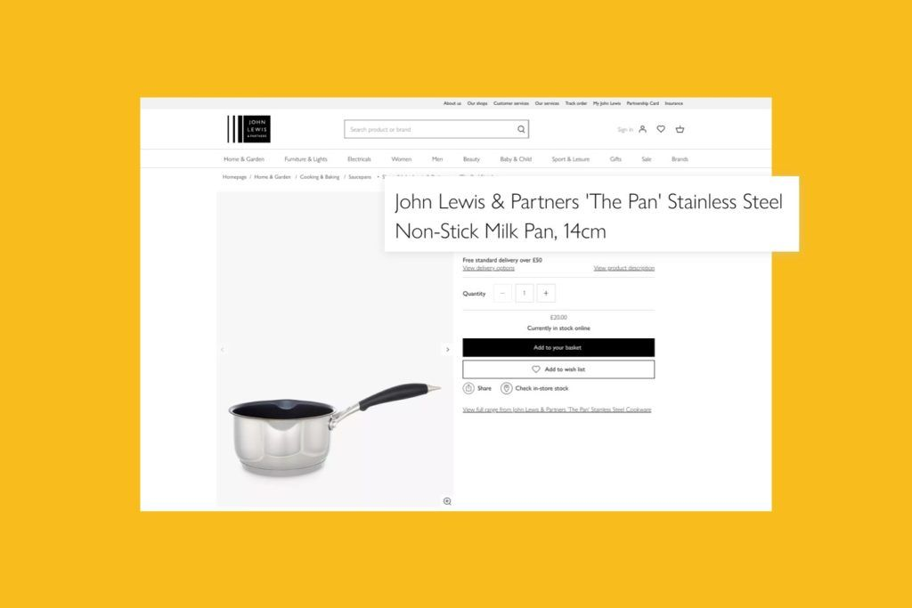 John Lewis website showing an example of product names