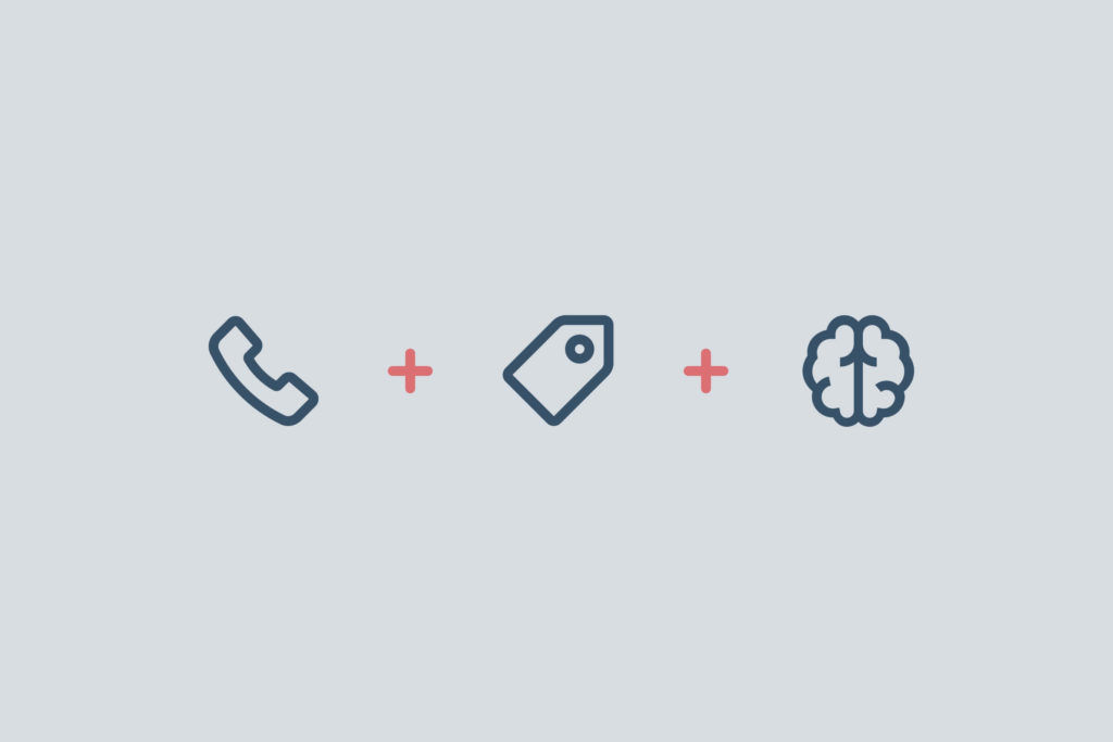 Illustration of telephone, shopping tag, and brain icons
