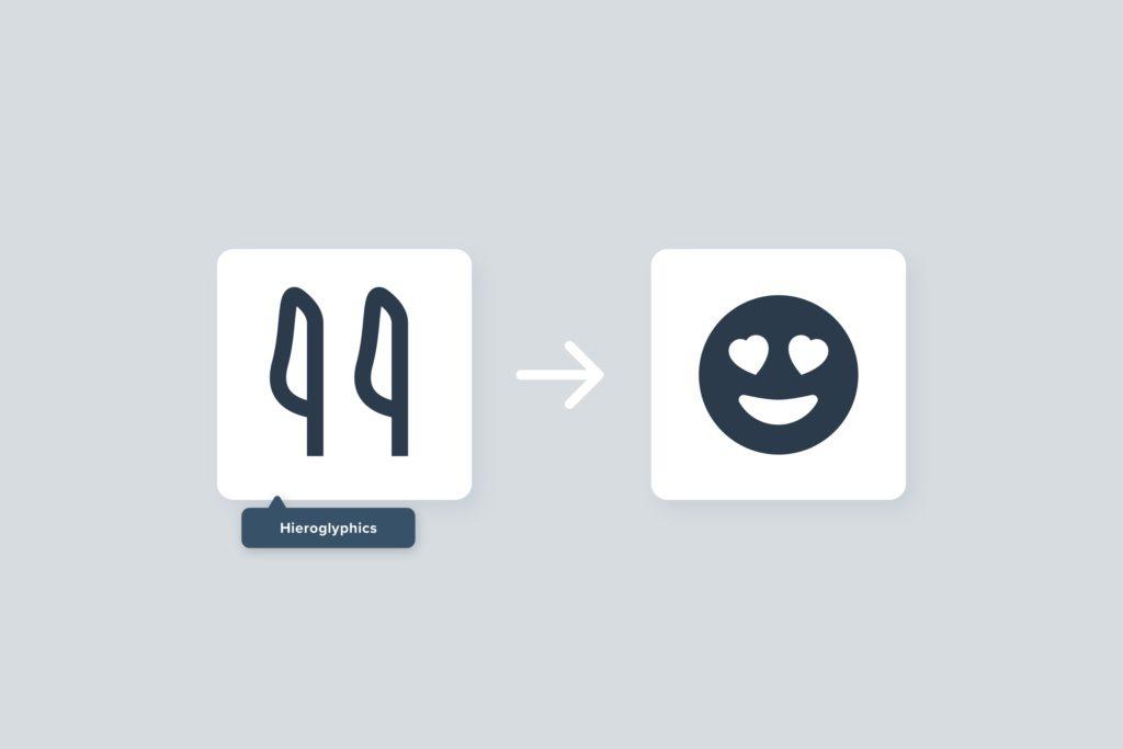 Graphic of hieroglyphic and emoji