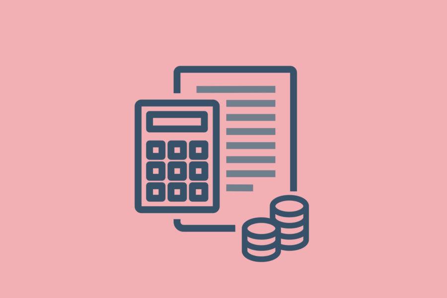 illustration of calculator and money