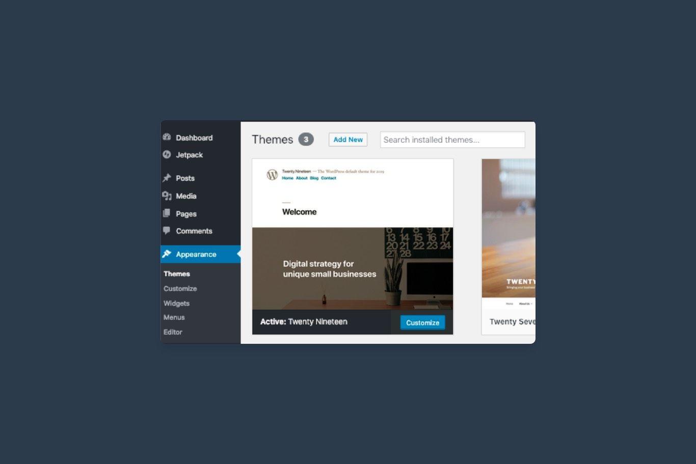 screenshot of wordpress themes