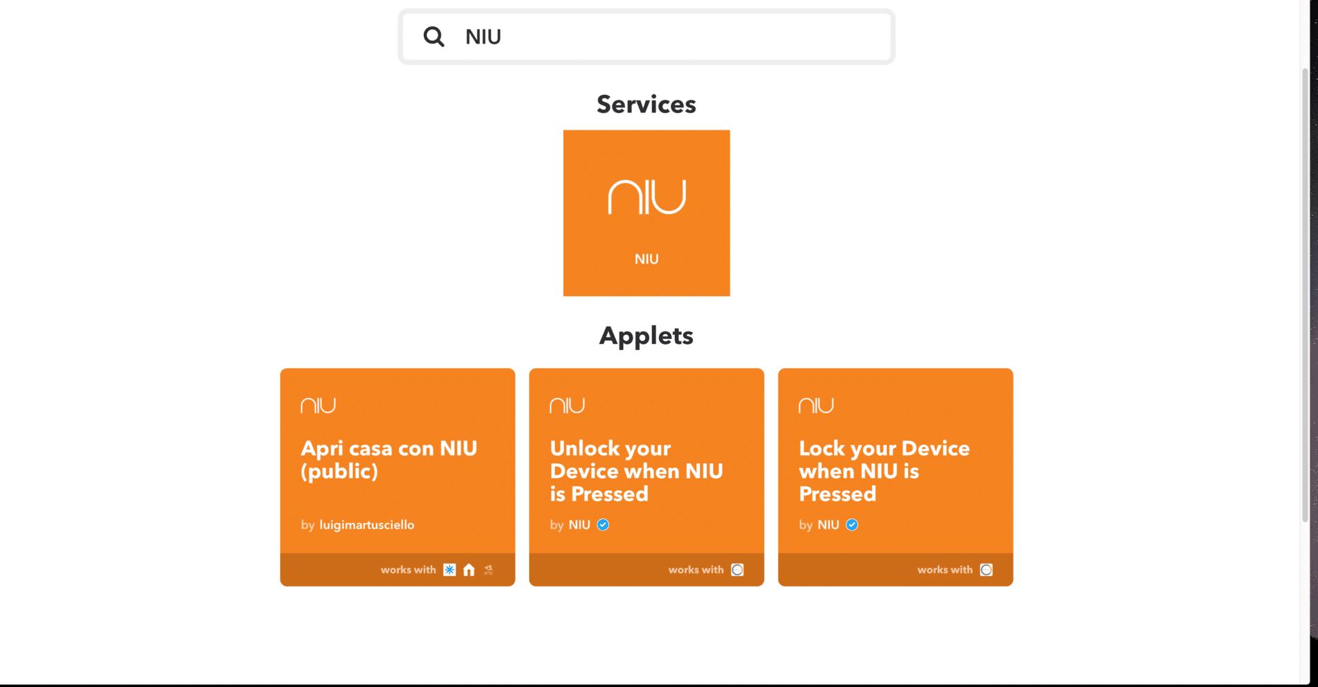 NIU Buttons IFTTT