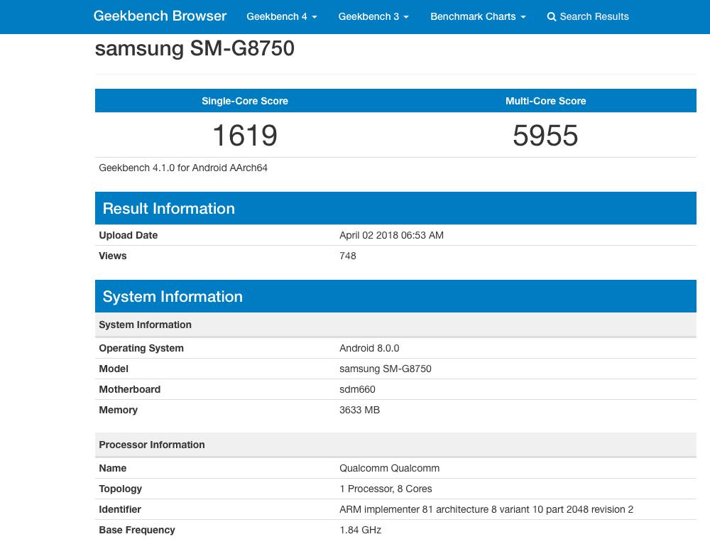 Galaxy S9 mini GeekBench