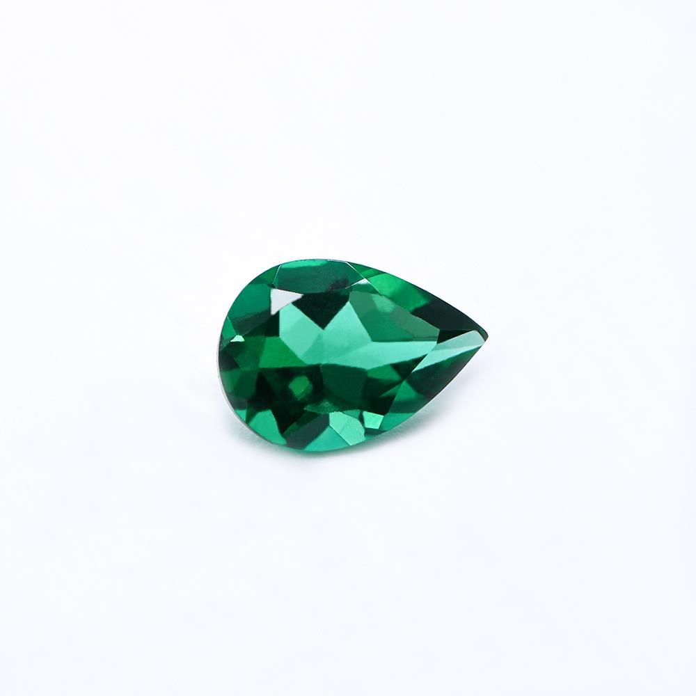 Created Emerald (Zambian Color) Pears Faceted