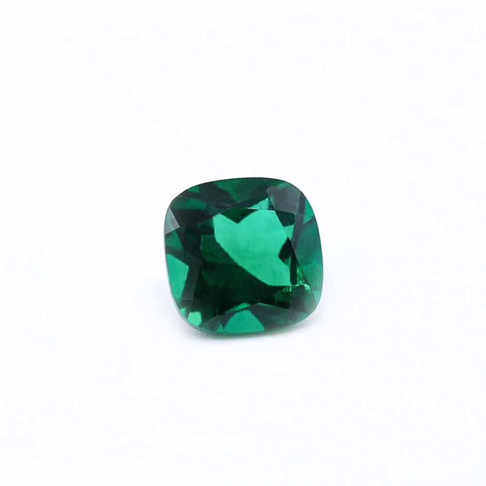 Created Emerald (Zambian Color) Cushion Faceted