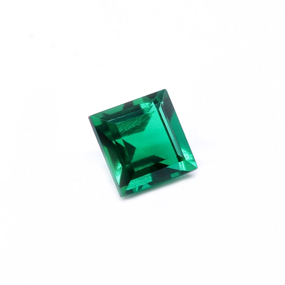 Created Emerald (Zambian Color) Square Faceted