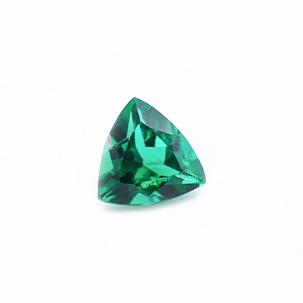 Created Emerald (Zambian Color) Trillion Faceted