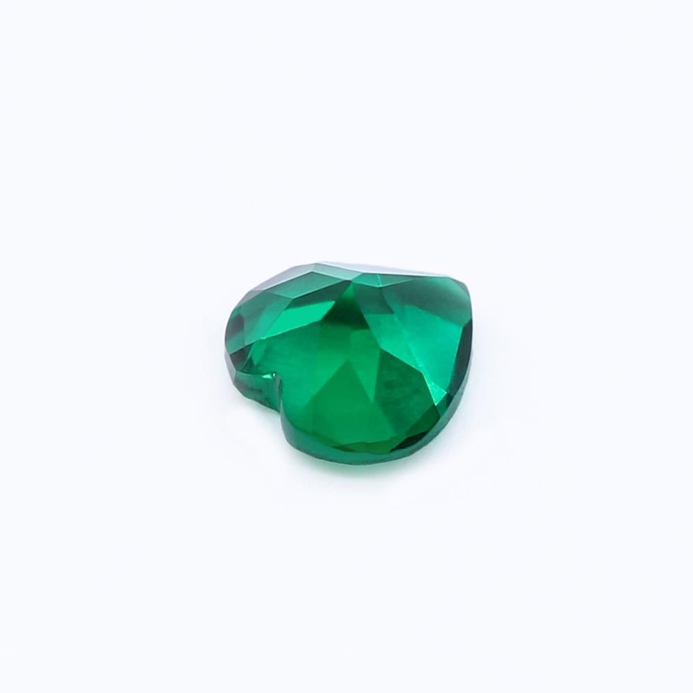 Created Emerald (Zambian Color) Heart Shape Faceted
