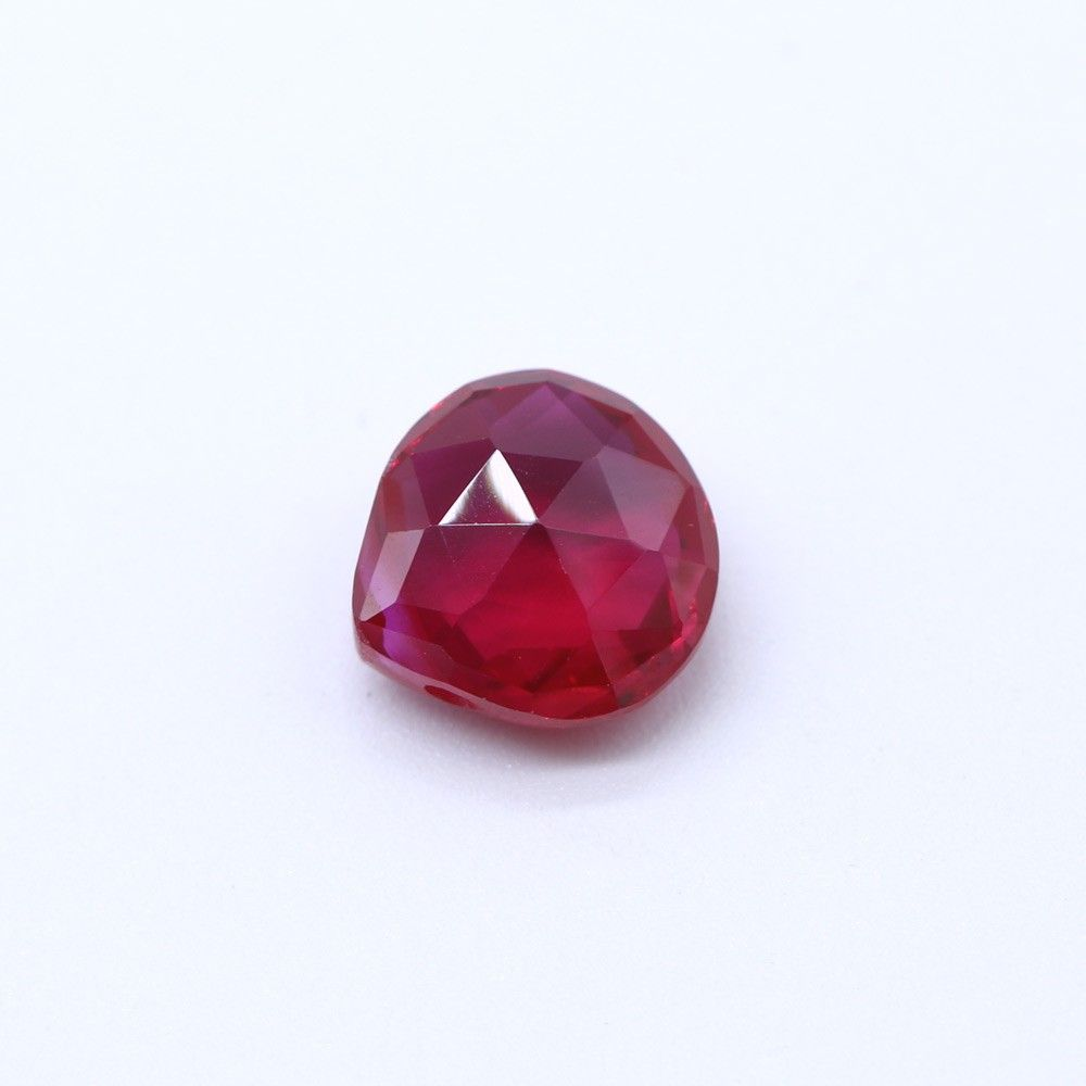 Synthetic Ruby Heart Shape Briolette (Tabeez)