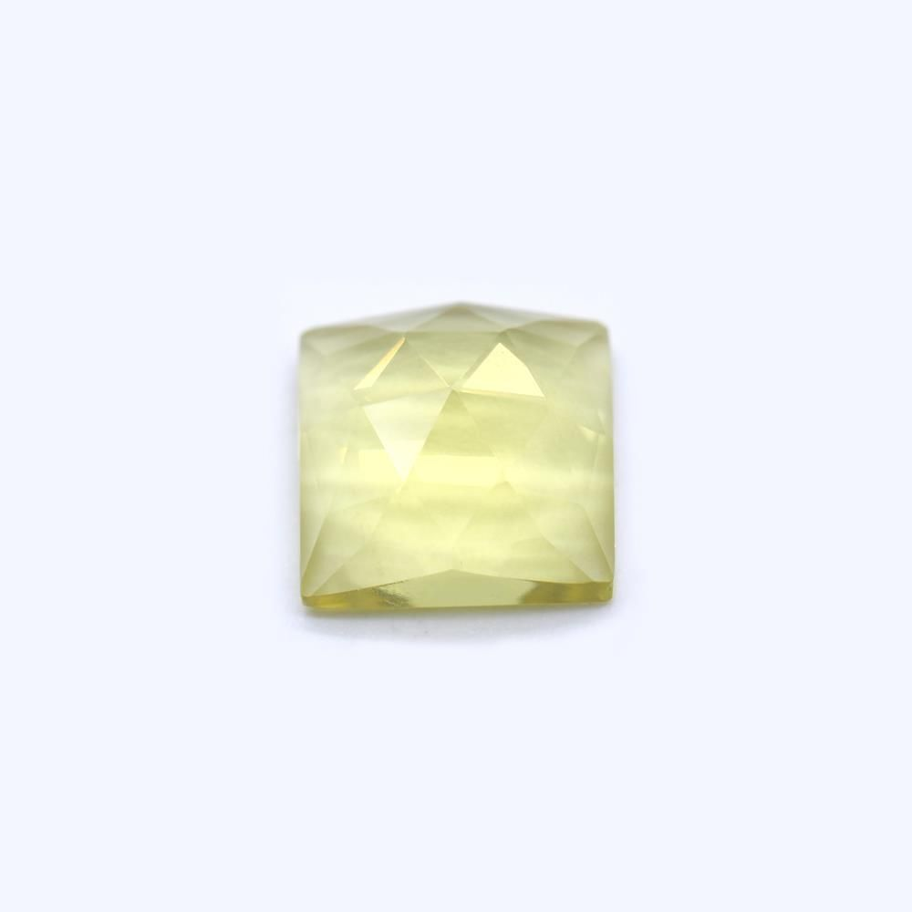 Lemon Green Gold Square Faceted Cab