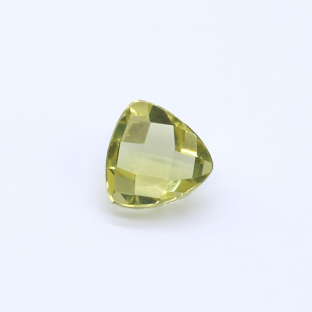 Lemon Green Gold Trillion Faceted Cab