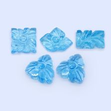Hand Carved Swiss Blue Topaz