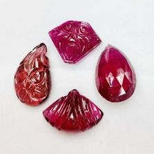 Rubellite Tourmaline Fancy Shape Hand Carved and Briolette