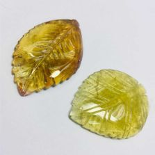 Yellow Tourmaline Hand Carved Leaves