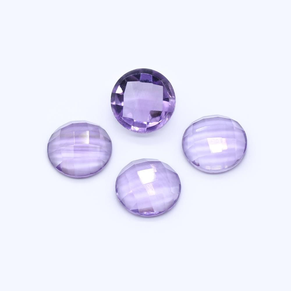 Amethyst (Brazilian) 10mm Round Faceted Cab (Checker Cut) (Light Color)