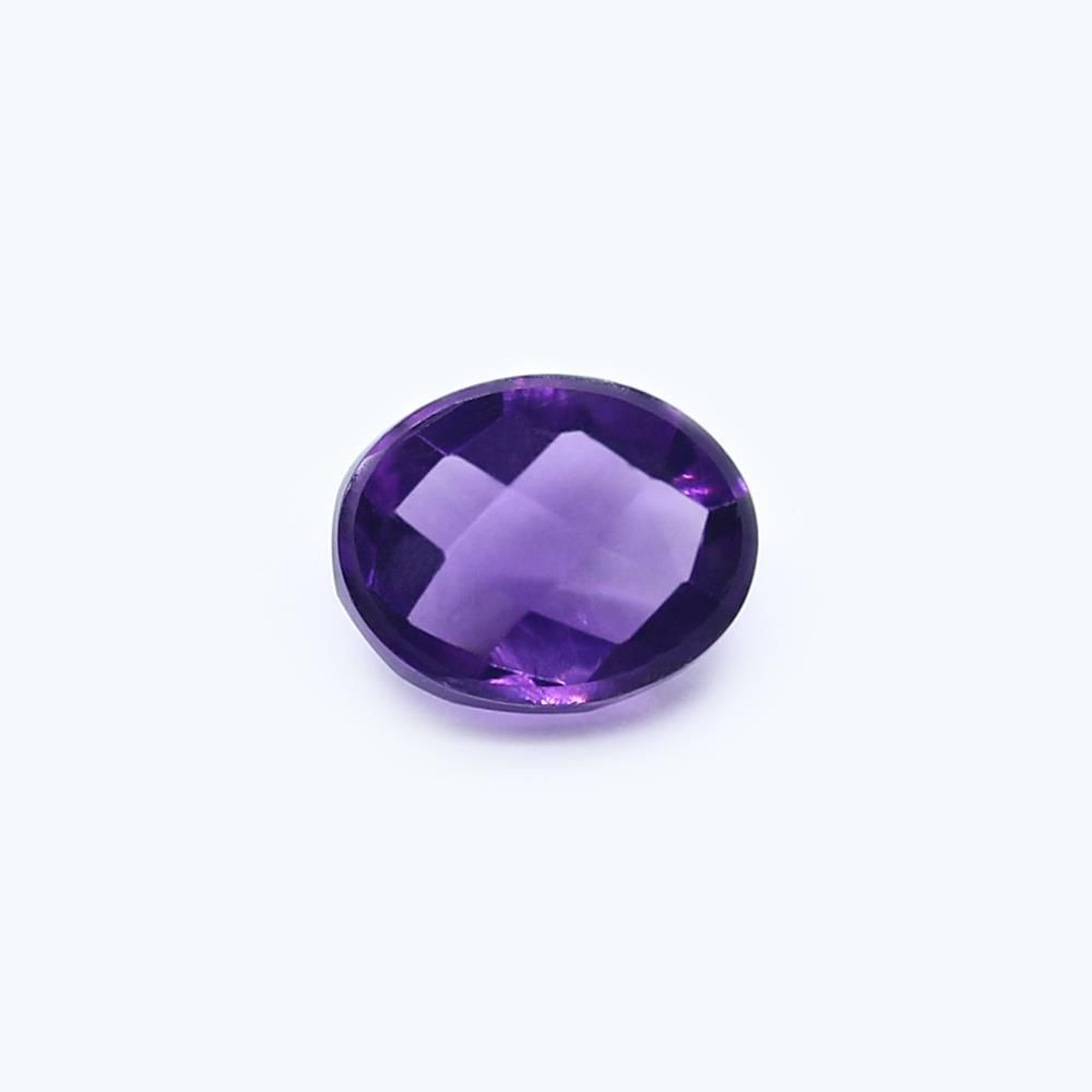 Amethyst (Brazilian) 9x7mm Oval Faceted Cab (Checker Cut) (Good Color)