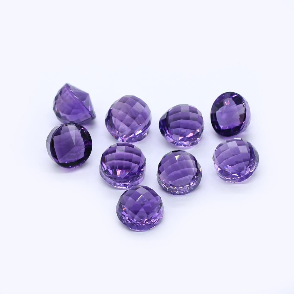 Amethyst (Brazilian) 13mm High Dome Faceted (Good Color)