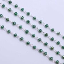 Aventurine Color 3 to 3.5mm Sterling Silver Wire Wrapped Rosary Chain