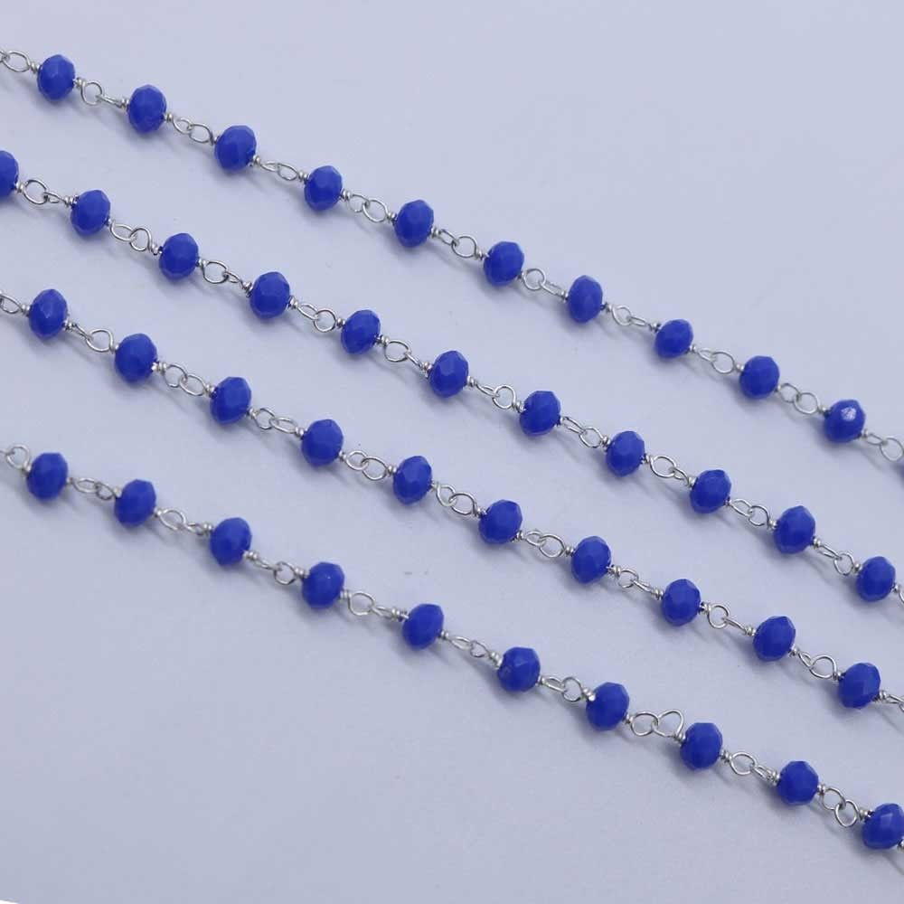 Blue Color 3 to 3.5mm Sterling Silver Wire Wrapped Rosary Chain