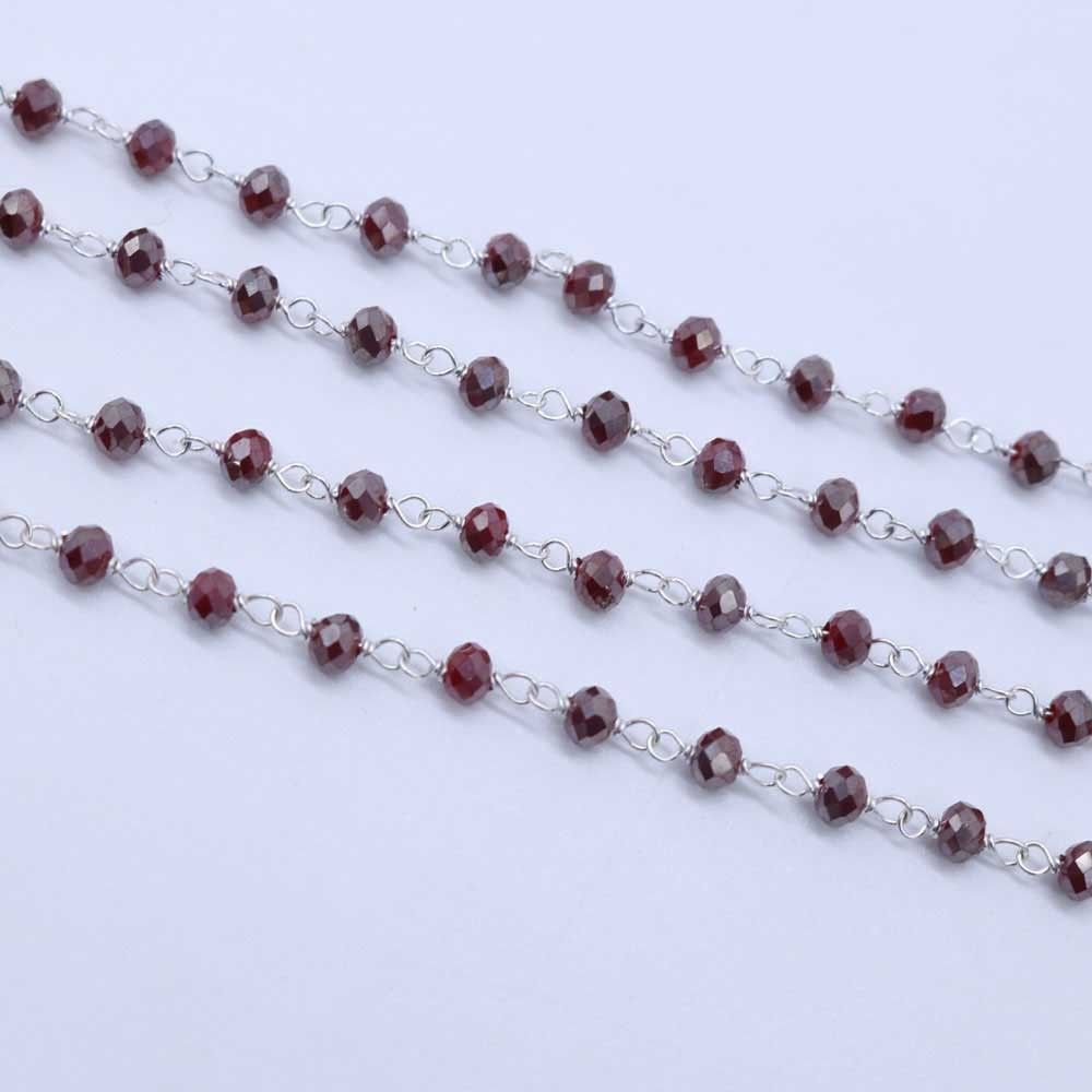 Garnet Color 3 to 3.5mm Sterling Silver Wire Wrapped Rosary Chain