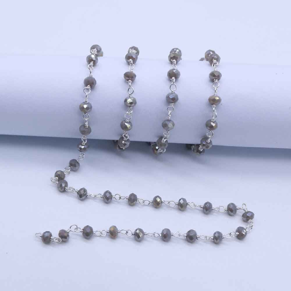 Labradorite Color 3 to 3.5mm Sterling Silver Wire Wrapped Rosary Chain