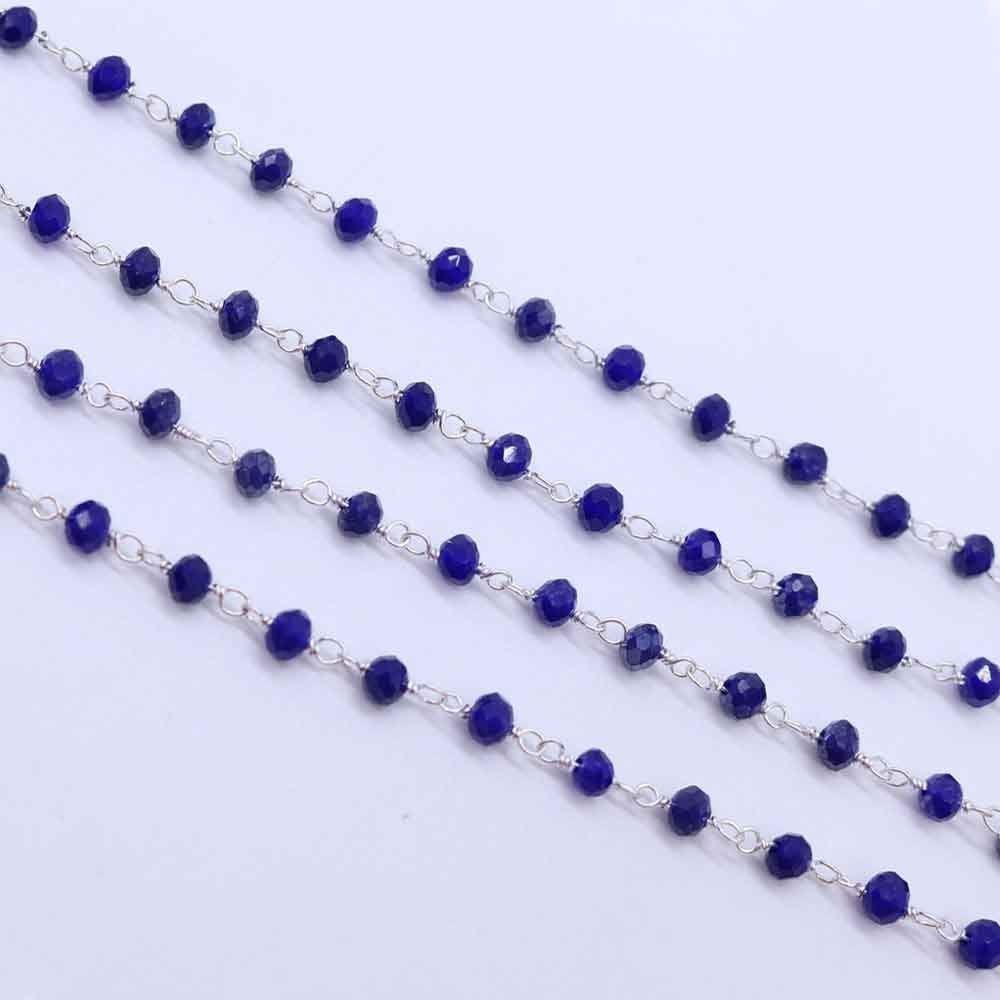 Lapis Color 3 to 3.5mm Sterling Silver Wire Wrapped Rosary Chain