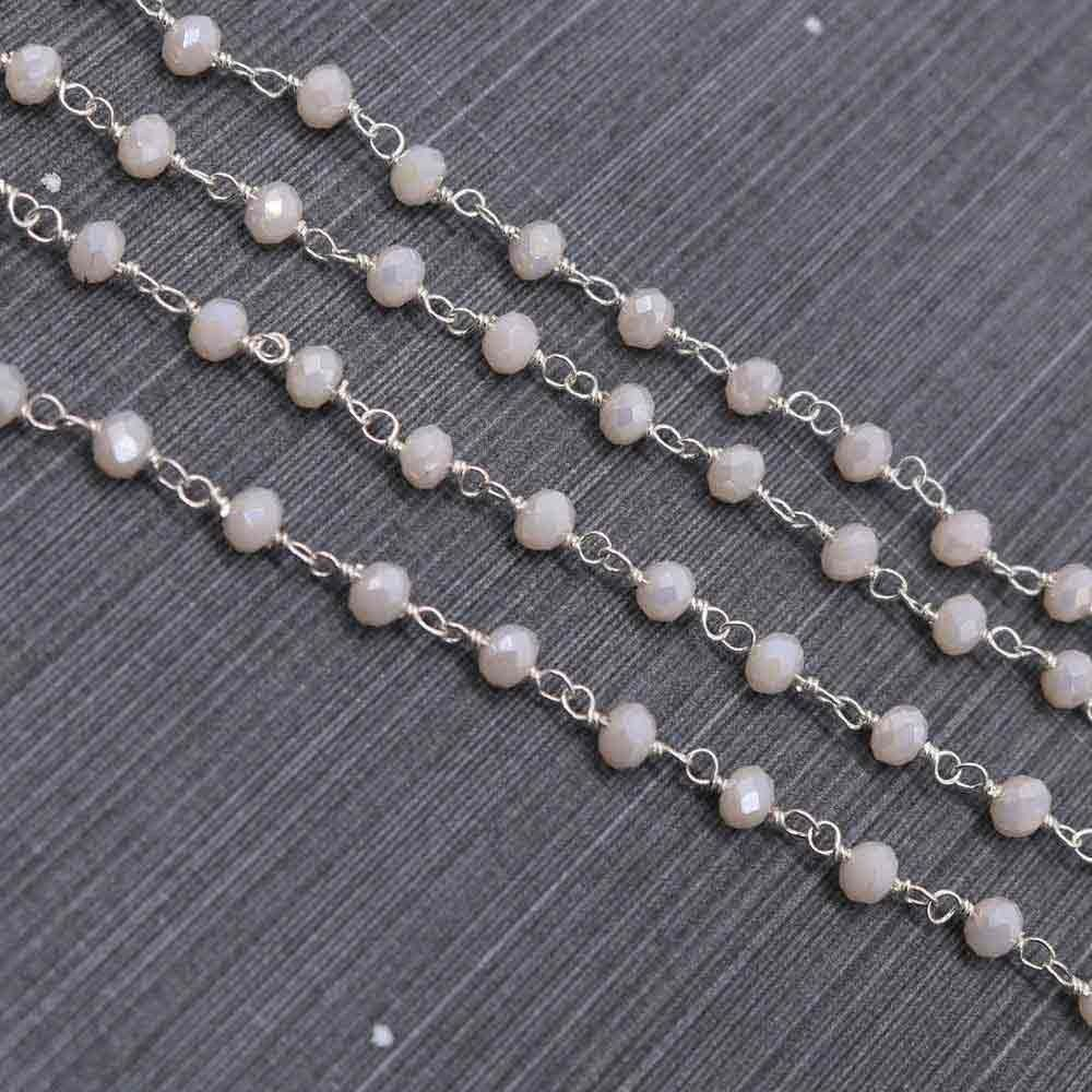 Ivory Color 3 to 3.5mm Sterling Silver Wire Wrapped Rosary Chain
