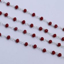 Ruby Color 3 to 3.5mm Sterling Silver Wire Wrapped Rosary Chain