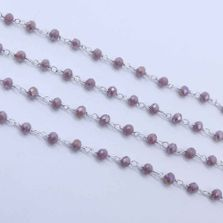 Lavender Jade Color 3 to 3.5mm Sterling Silver Wire Wrapped Rosary Chain