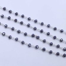 Metallic Blue Color 3 to 3.5mm Sterling Silver Wire Wrapped Rosary Chain